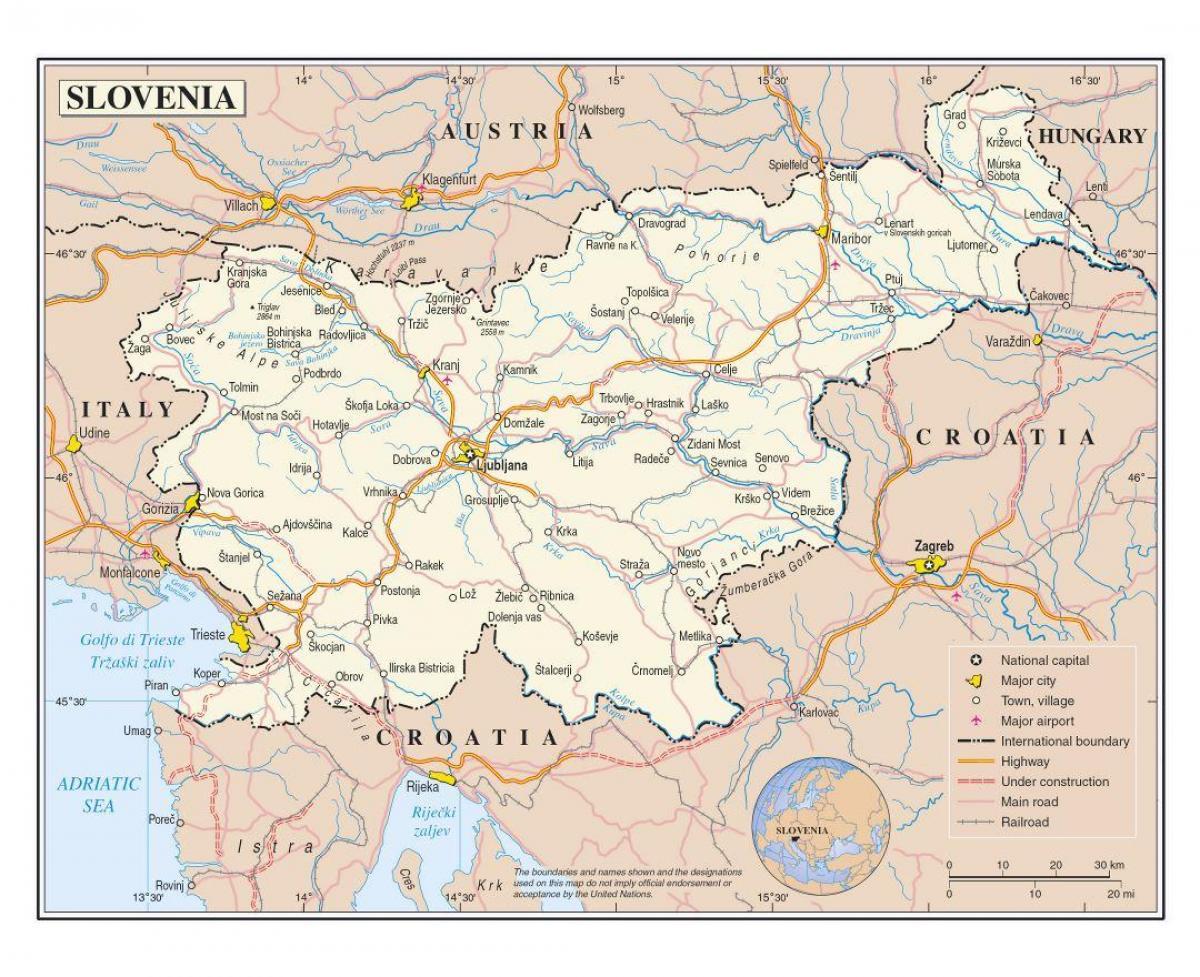Slovenija Grad Karta Karta Grada U Sloveniji Juzna Europa Europa